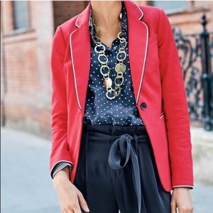 Boden Lilah Cotton Piped Blazer in Hibiscus-8R
